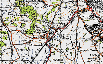Old map of Dinas Powis in 1947