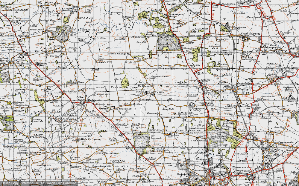Old Map of Historic Map covering Toft Hill in 1947