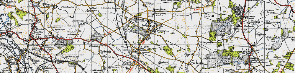 Old map of Dinnington in 1947