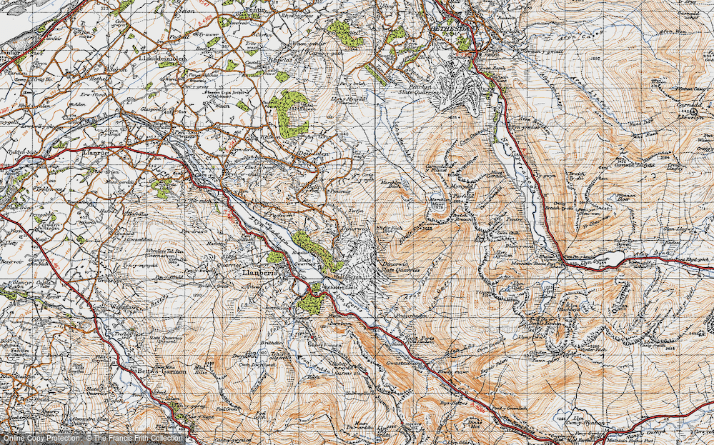 Old Map of Historic Map covering Afon Dudodyn in 1947