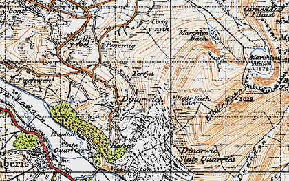 Old map of Afon Dudodyn in 1947