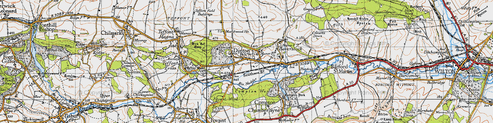 Old map of Dinton in 1940