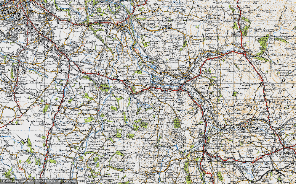 Old Map of Disley, 1947 in 1947