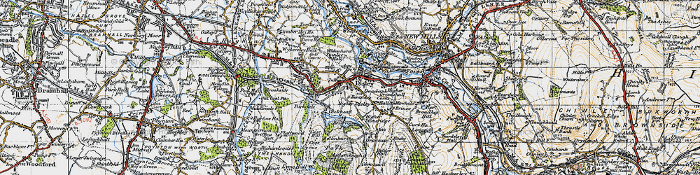 Old map of Disley in 1947