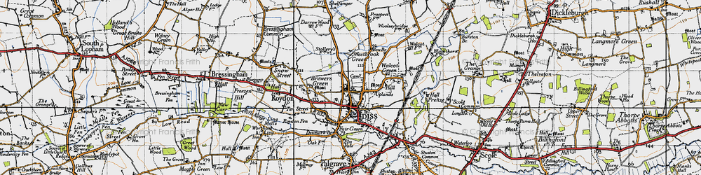 Old map of Diss in 1946