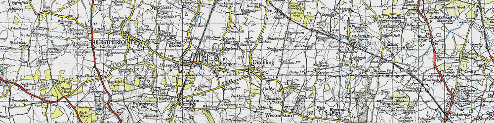 Old map of Ditchling in 1940