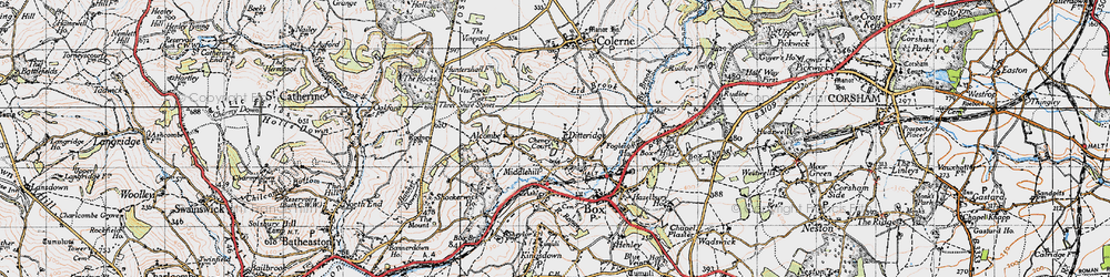 Old map of Ditteridge in 1946
