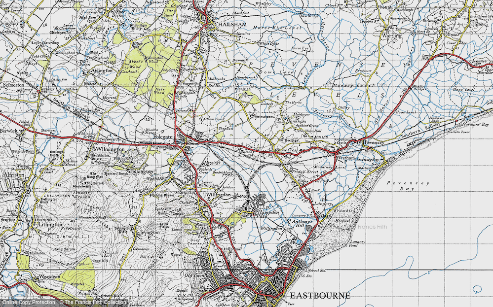 Old Map of Historic Map covering 1066 Country Walk in 1940