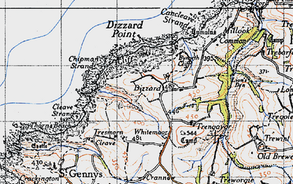 Old map of Dizzard in 1946