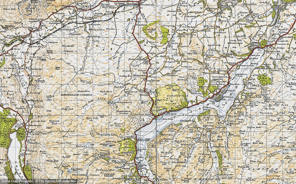 Old Map of Historic Map covering Aira Force in 1947