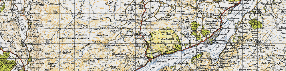 Old map of Aira Force in 1947