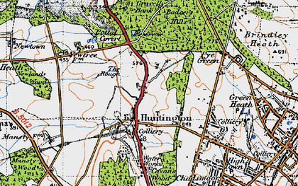 Old map of Badger Slade Wood in 1946