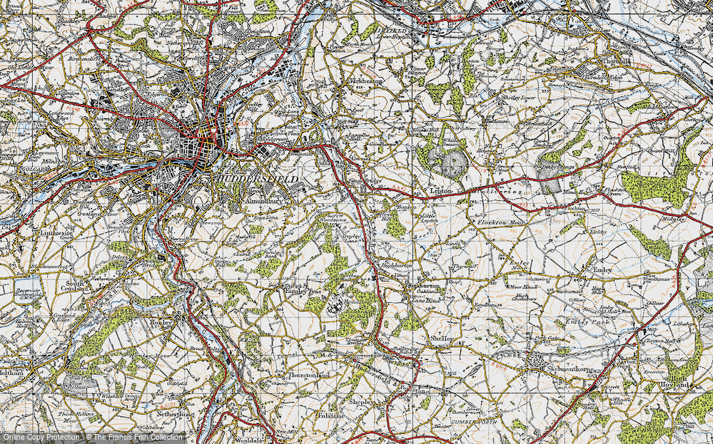 Old Map of Historic Map covering Almondbury Common in 1947