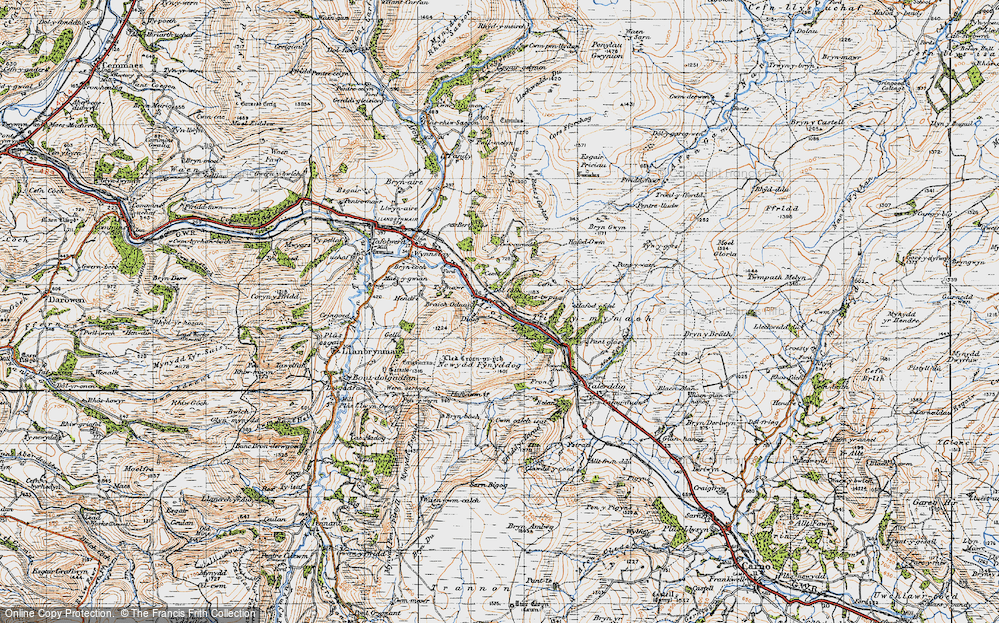 Old Map of Historic Map covering Afon Iaen in 1947