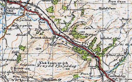 Old map of Afon Iaen in 1947