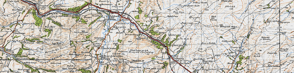 Old map of Afon Iaen in 1947