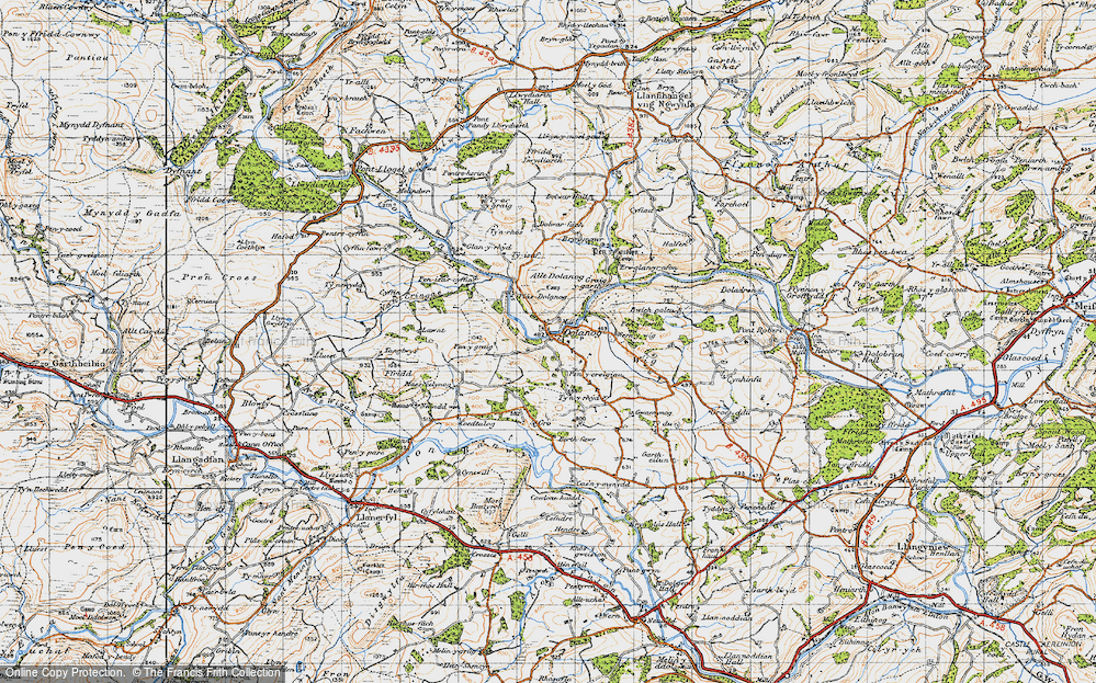Old Map of Historic Map covering Allt Dolanog in 1947