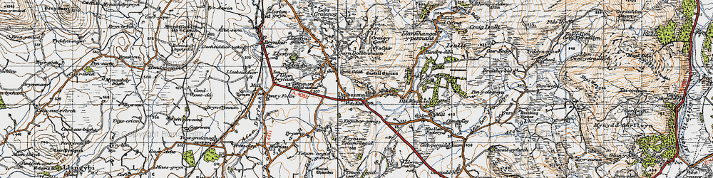 Old map of Dolbenmaen in 1947