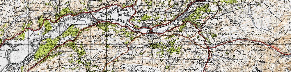 Old map of Dolgellau in 1947