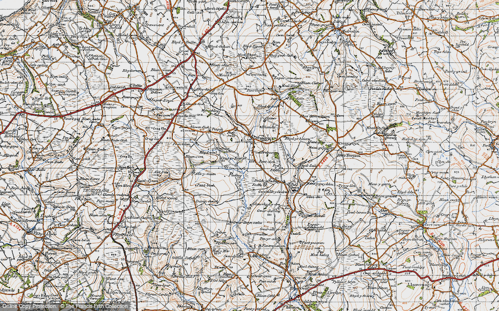 Old Map of Historic Map covering Alltmaen in 1947