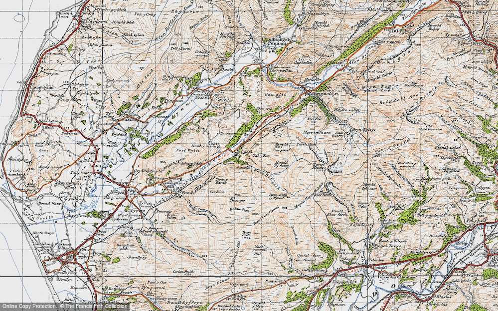 Old Map of Historic Map covering Allt Nantygwenlli in 1947