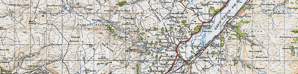 Old map of Afon Lliw in 1947
