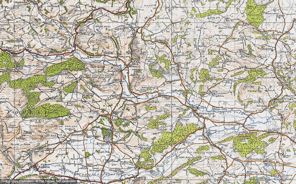 Old Map of Historic Map covering Ackhill in 1947