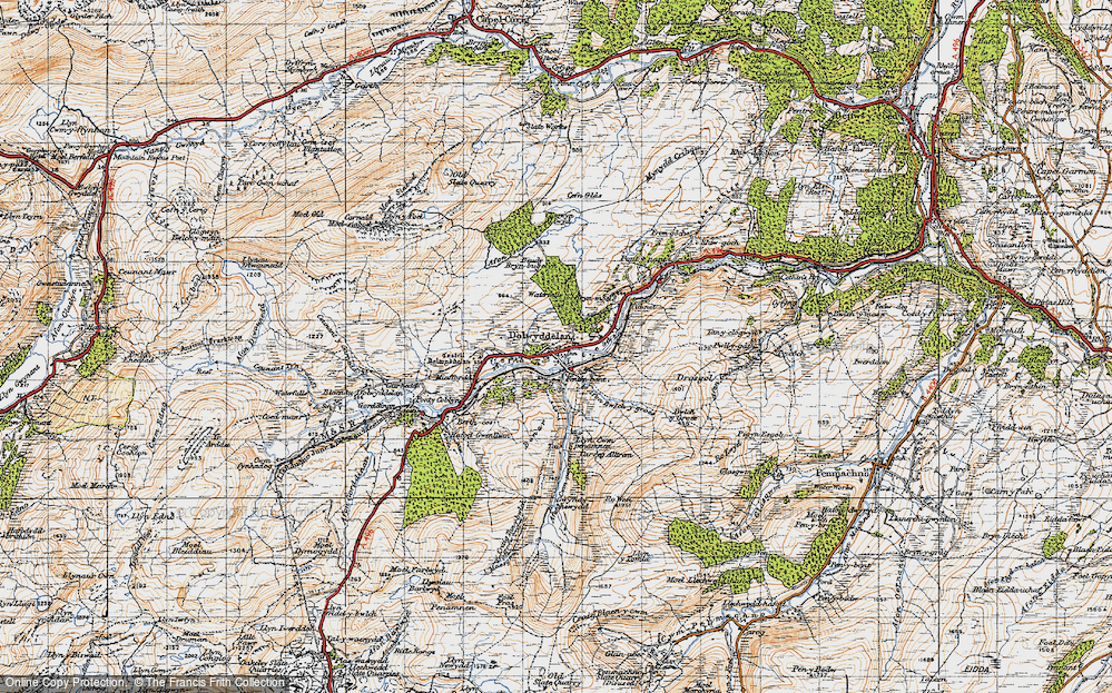 Old Map of Historic Map covering Afon Ystumiau in 1947
