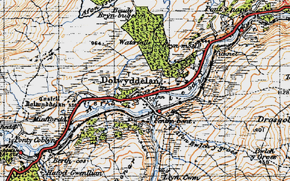 Old map of Afon Lledr in 1947