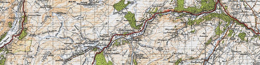 Old map of Afon Ystumiau in 1947