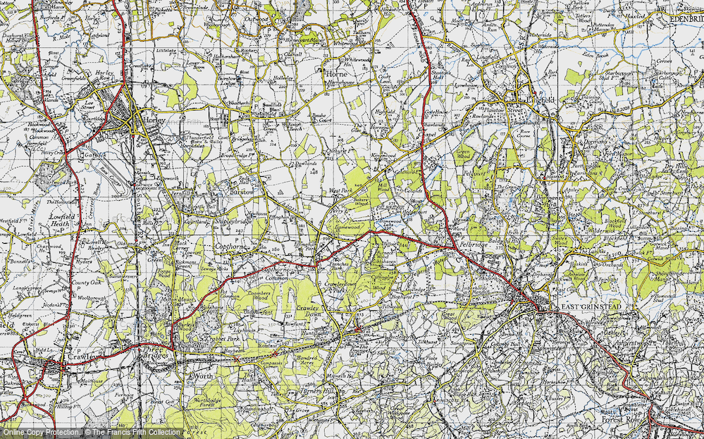 Old Map of Historic Map covering Baker's Wood in 1946