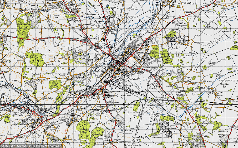 Old Map of Doncaster, 1947 in 1947