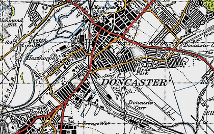 Old map of Doncaster in 1947
