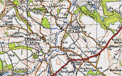 Old map of Donhead St Andrew in 1940