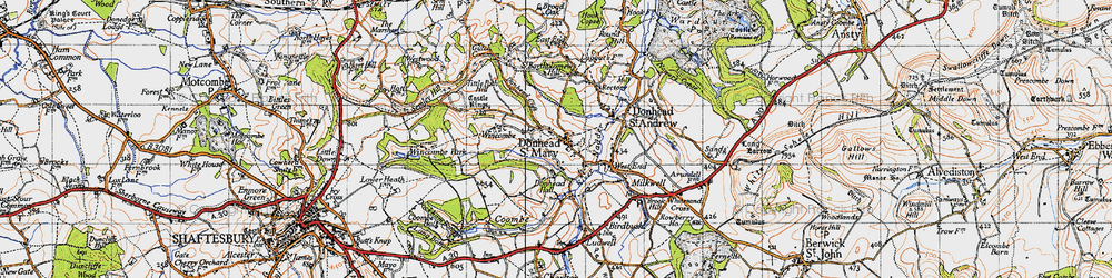Old map of Wincombe in 1940