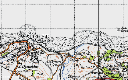 Old map of Doniford in 1946