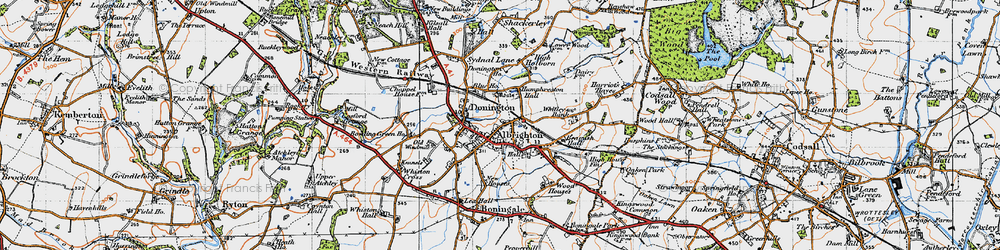 Old map of Donington in 1946