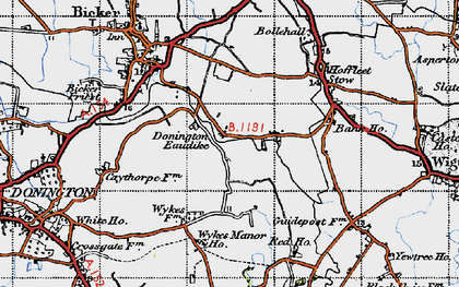 Old map of Donington Eaudike in 1946
