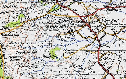 Old map of Donkey Town in 1940