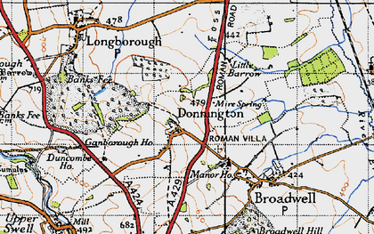 Old map of Donnington in 1946