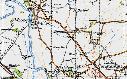 Old map of Donnington in 1947