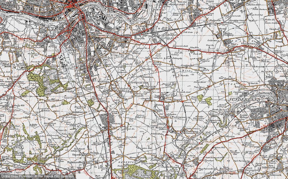 Old Map of Historic Map covering Leam, The in 1947