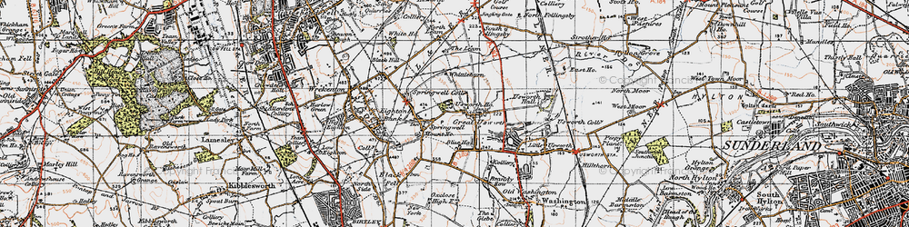 Old map of Leam, The in 1947