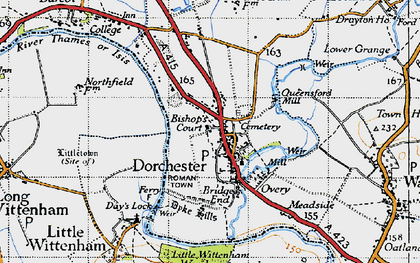 Old map of Dorchester in 1947