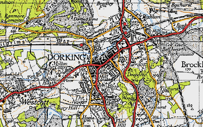 Old map of Dorking in 1940