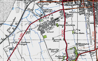 Old map of Dormanstown in 1947