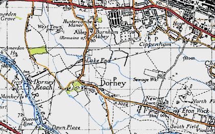 Old map of Dorney in 1945