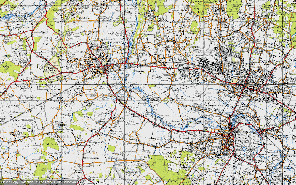 Old Map of Historic Map covering Amerden Ho in 1945
