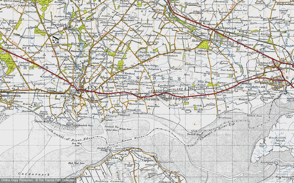 Old Map of Historic Map covering Woodhall in 1947