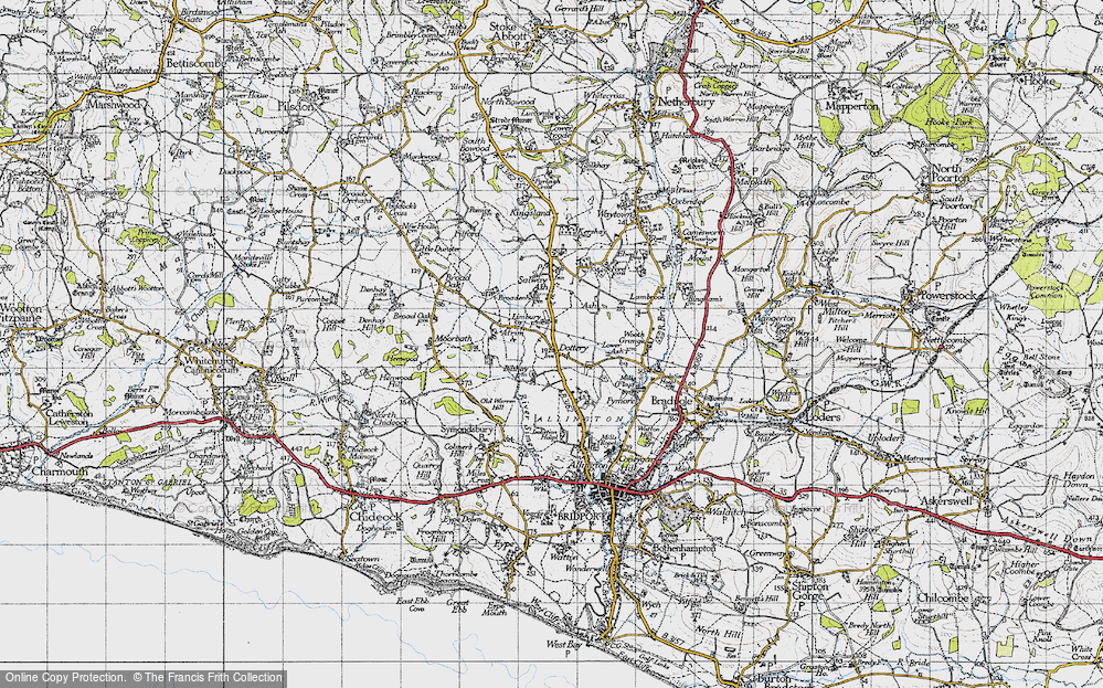 Old Map of Historic Map covering Limbury in 1945
